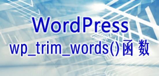 WordPress使用wp_trim_words()函数截取限定字数的内容